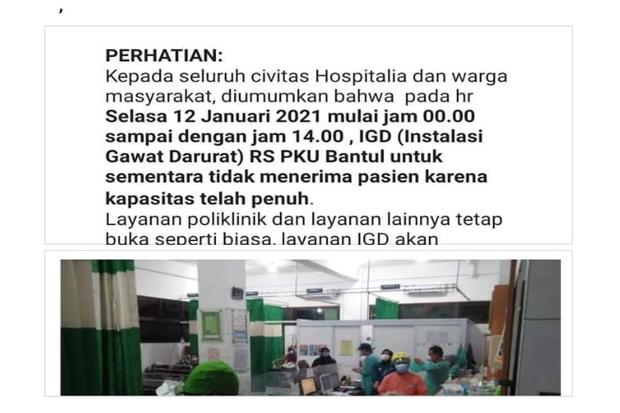 Covid-19 Melonjak, RS PKU Muhammadiyah Bantul Tutup IGD