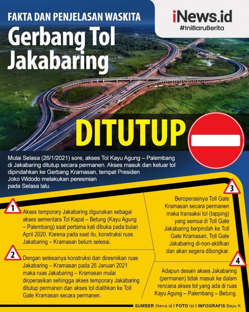Infografis Fakta dan Penjelasan Waskita Soal Penutupan Gerbang Tol Jakabaring