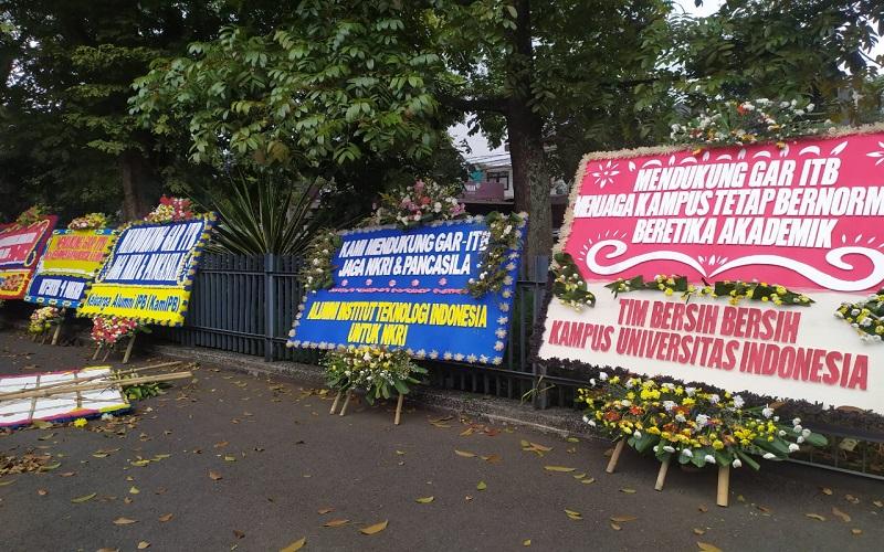 Dukung GAR ITB Jaga NKRI-Pancasila, Karangan Bunga Berdatangan ke Gedung MWA