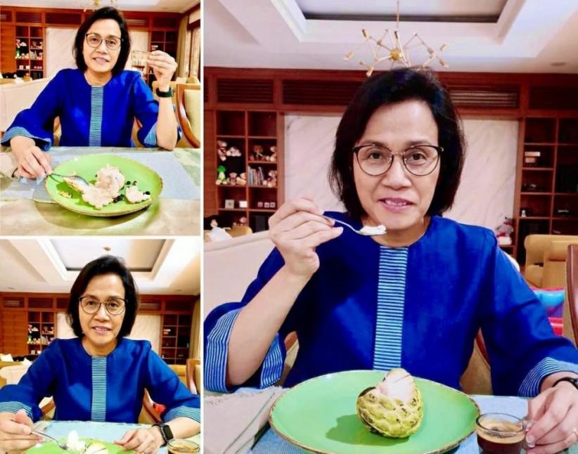 Makan Srikaya Jumbo Ditemani Kopi Ciwidey, Sri Mulyani : Spektakuler Nikmatnya