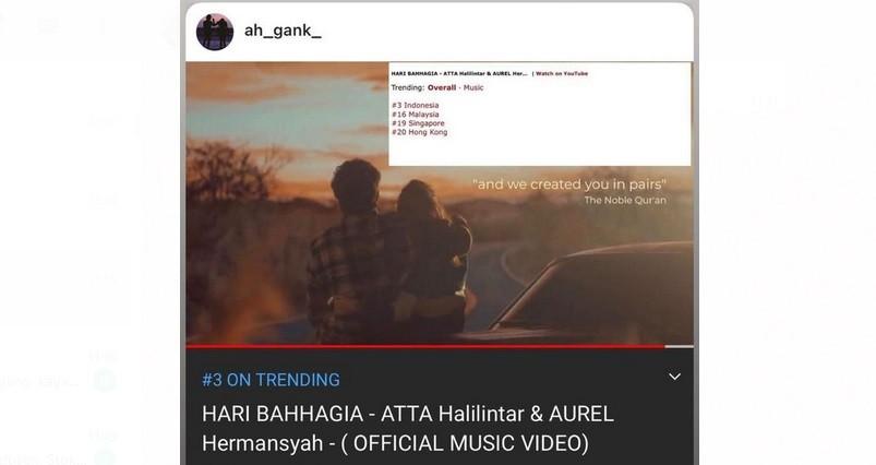 Lagu Hari Bahagia Atta dan Aurel Trending di Posisi 3 YouTube, Ditonton 4,5 Juta Kali