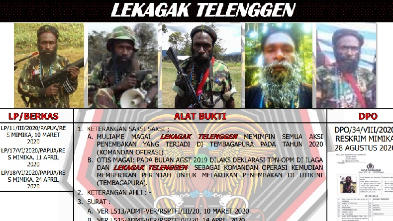 Ini Nama-Nama Pentolan KKB yang Diincar Personel Gabungan TNI Polri