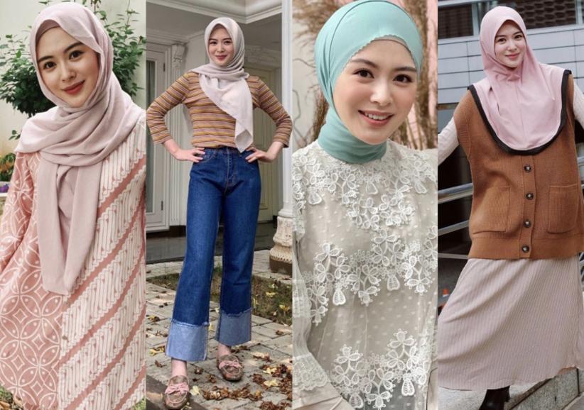 5 Inspirasi Fashion Hijab Ramadan ala Ayana Moon, Mualaf Asal Korea Selatan