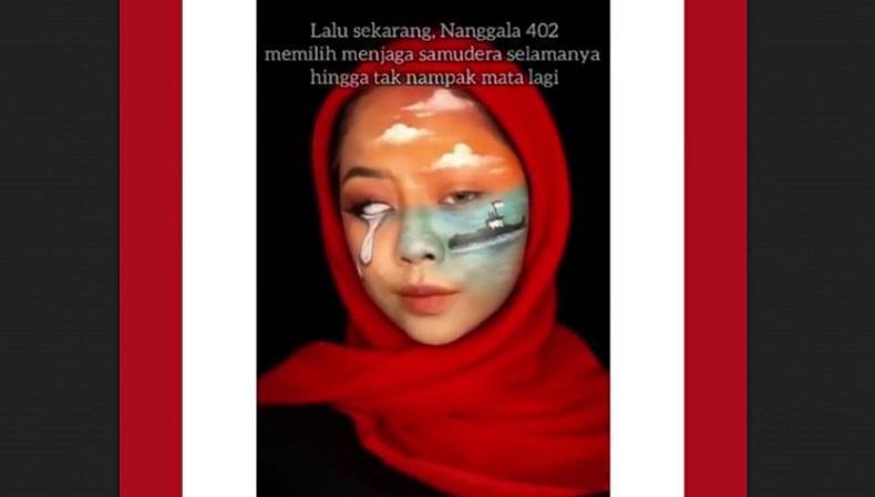 Viral, Perempuan Ini Lukis Wajah Tragedi di Indonesia hingga Tenggelamnya KRI Nanggala