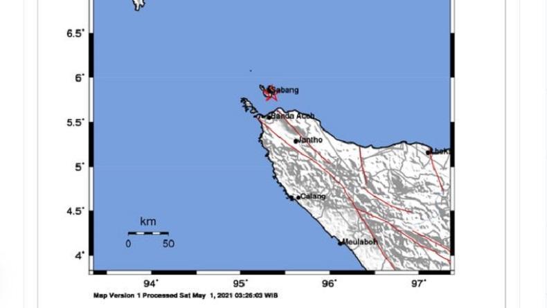 Sabang Diguncang Gempa M3,5 Sabtu Siang, Kedalaman 3 Km