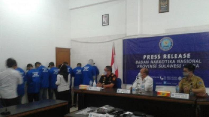 BNNP Sulut dan Bea Cukai Ungkap Peredaran Tembakau Gorila, 9 Orang Ditangkap