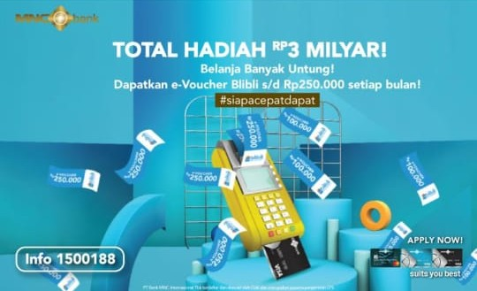 Dear Shoppers! Pakai Kartu Kredit MNC Bank Makin Untung, Raih Ribuan e-Voucher Blibli