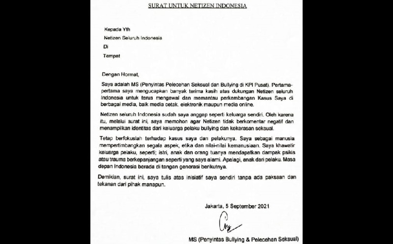 Tulis Surat Terbuka, Pegawai KPI Korban Pelecehan Minta Netizen Tak Bully Terduga Pelaku