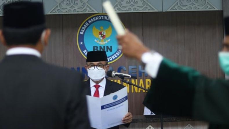 Brigjen Pol Heru Pranoto Lantik Kepala BNNK Pidie yang Baru